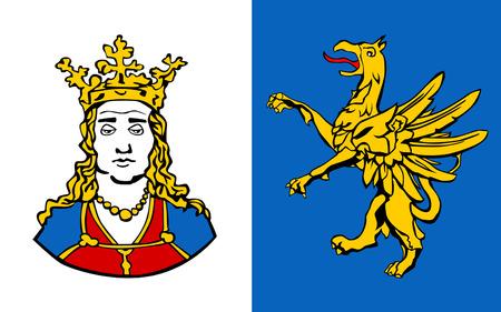 mecklenburg western pomerania: Flag of Ribnitz-Damgarten is a town in Mecklenburg-Vorpommern, Germany. 3d illustration Stock Photo