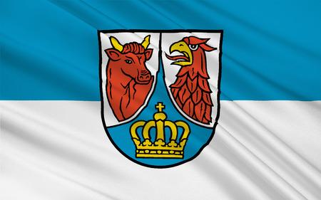 brandenburg: Flag of Dahme-Spreewald is a district in Brandenburg, Germany. 3d illustration