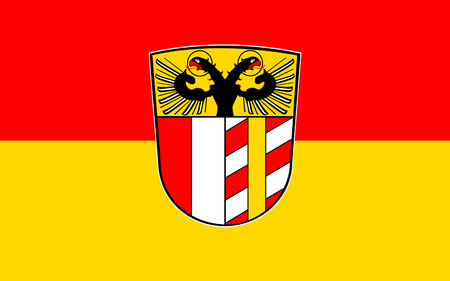 bavaria: Flag of Swabia is one of the seven administrative regions of Bavaria, Germany. 3d illustration