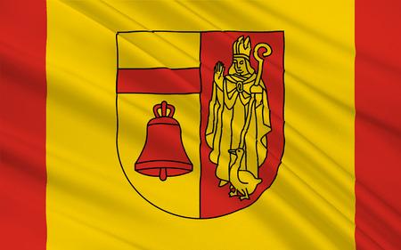 northwestern: Flag of Coesfeld is a district in the northwestern part of North Rhine-Westphalia, Germany. 3d illustration Stock Photo