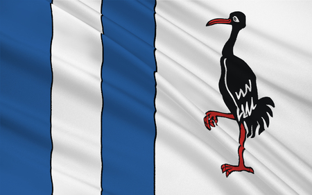 burg: Flag of Jerichower Land is a district in the north-east of Saxony-Anhalt, Germany. 3d illustration Stock Photo