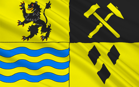 district': Flag of Mittelsachsen is a district in the Free State of Saxony, Germany. 3d illustration