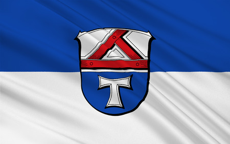 hessen: Flag of Giessen is a district in the middle of Hessen, Germany. 3d illustration Stock Photo