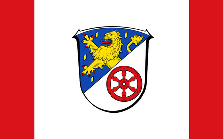Flag of Rheingau-Taunus is a district in the west of Hesse, Germany. 3d illustration