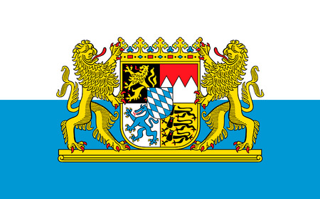Flag of Free State of Bavaria - the land in the south and southeast of the Federal Republic of Germany. 3d illustration