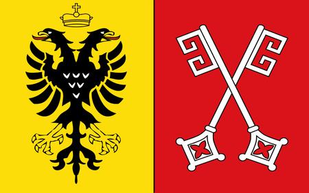 north rhine westphalia: Flag of Minden is a town in the north-east of North Rhine-Westphalia, Germany. 3d illustration Stock Photo