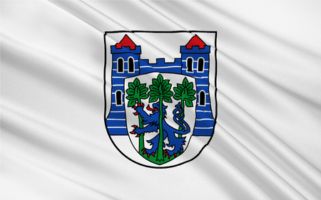 Flag of Uelzen is a town in northeast Lower Saxony, Germany. 3d illustration Stock Photo