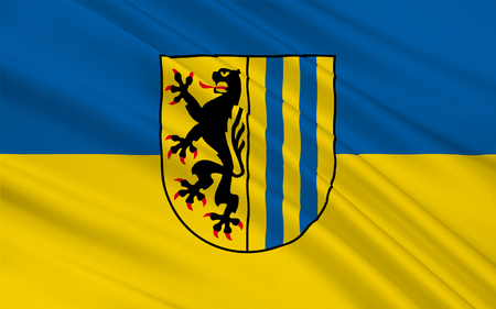 federal: Flag of Leipzig is the largest city in the federal state of Saxony, Germany. 3d illustration Stock Photo