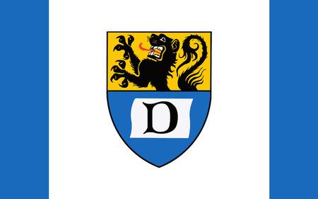 north rhine westphalia: Flag of Duren is a district in the west of North Rhine-Westphalia, Germany. 3d illustration Stock Photo