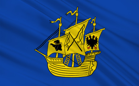 northwestern: Flag of Wittmund is a district in the northwestern part of Lower Saxony, Germany. 3d illustration Stock Photo