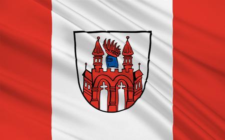 mecklenburg western pomerania: Flag of Neubrandenburg is a city in the southeast of Mecklenburg-Vorpommern, Germany. 3d illustration Stock Photo