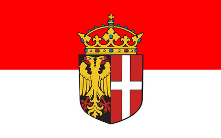 westfalen: Flag of Neuss is a city in North Rhine-Westphalia, Germany. 3d illustration