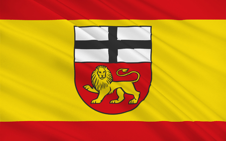 north rhine westphalia: Flag of Bonn is a city on the banks of the Rhine in the German state of North Rhine-Westphalia. 3d illustration Stock Photo