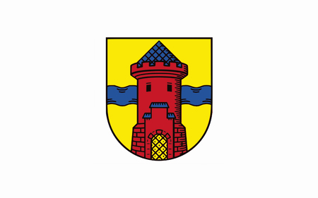 urban district: Flag of Delmenhorst is an urban district in Lower Saxony, Germany. 3d illustration