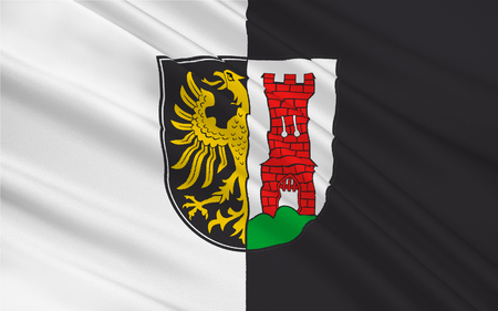 federal republic of germany: Flag of Kempten is the largest town of Allgaeu, in Swabia, Bavaria, Germany. 3d illustration