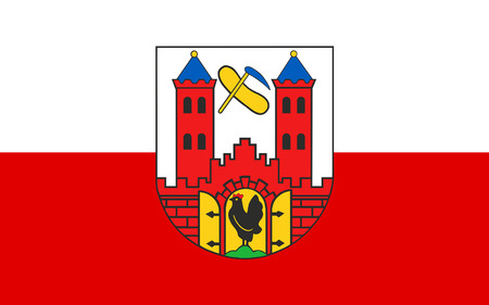 nationalist: Flag of Suhl is a city in Thuringia, Germany Stock Photo