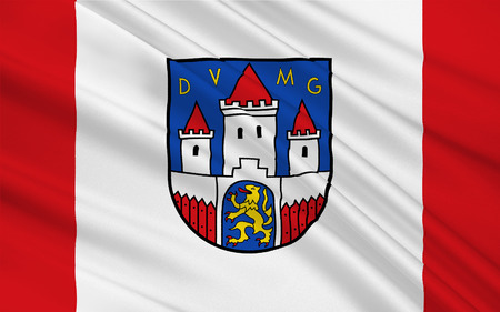 deutsch: Flag of Jever is the capital of the district of Friesland in Lower Saxony, Germany. 3d illustration