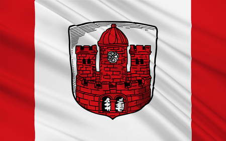 munster: Flag of Borken is a town and the capital of the district, in North Rhine-Westphalia, Germany. 3d illustration