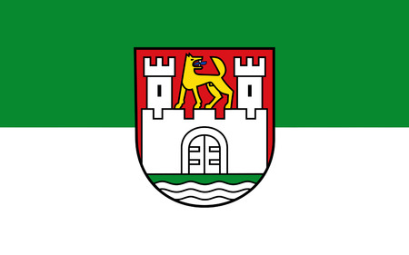 federal republic of germany: Flag of Wolfsburg is the fifth largest city in the German state of Lower Saxony. 3d illustration
