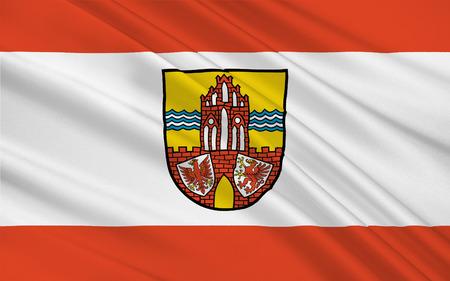 brandenburg: Flag of Uckermark is a Kreis (district) in the northeastern part of Brandenburg, Germany. 3d illustration Stock Photo