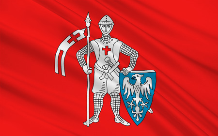Flag of Bamberg is a town in Upper Franconia, Germany. 3d illustration Stock Photo