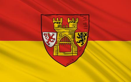 north rhine westphalia: Flag of Euskirchen is a town in North Rhine-Westphalia, Germany. 3d illustration