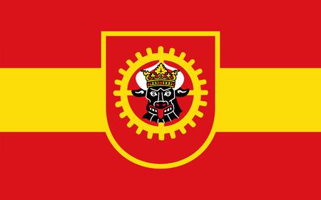municipality: Flag of Grevesmuhlen is a municipality in Mecklenburg-Vorpommern, northern Germany. 3d illustration