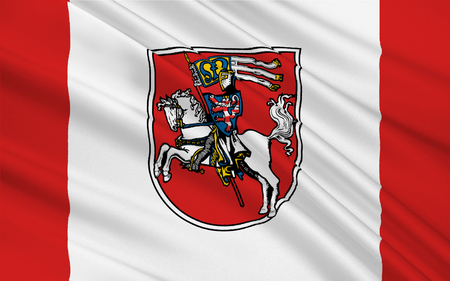 hessen: Flag of Marburg is a university town in the Hessen, Germany. 3d illustration