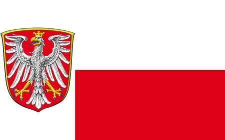 frankfurt germany: Flag of Frankfurt am Main is the largest city of Hesse in Germany. 3d illustration