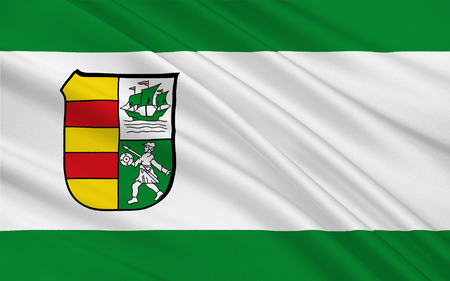 northwestern: Flag of Wesermarsch is a district in the northwestern part of Lower Saxony, Germany. 3d illustration