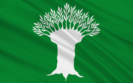 northwestern: Flag of Wesel is a district in the northwestern part of North Rhine-Westphalia, Germany. 3d illustration