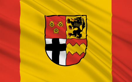 southwest: Flag of Euskirchen is a district in the south-west of North Rhine-Westphalia, Germany. 3d illustration