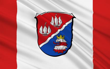 hessen: Flag of Vogelsbergkreis is a district in the middle of Hesse, Germany. 3d illustration