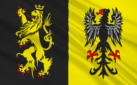 southwest: Flag of Vogtlandkreis is a Landkreis in the southwest of the Free State of Saxony, Germany. 3d illustration