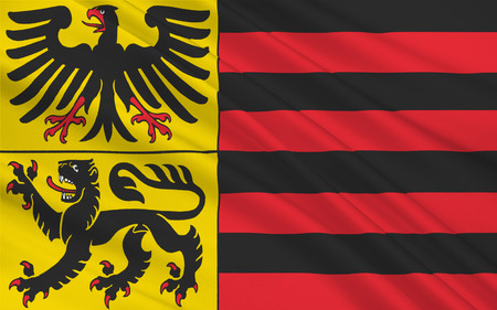 north rhine westphalia: Flag of Duren is a town in North Rhine-Westphalia, Germany. 3d illustration Stock Photo