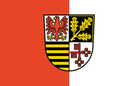 western part: Flag of Potsdam-Mittelmark is a district in the western part of Brandenburg, Germany. 3d illustration
