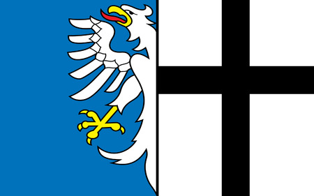 north rhine westphalia: Flag of Meschede is a town in the Hochsauerland district, in North Rhine-Westphalia, Germany. 3d illustration Stock Photo