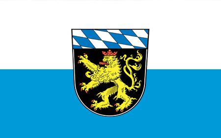 districts: Flag of Upper Bavaria is one of the seven administrative districts of Bavaria, Germany. 3d illustration Stock Photo