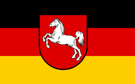northwestern: Flag of Lower Saxony is a state situated in northwestern Germany Stock Photo
