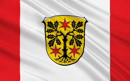 frankfurt germany: Flag of Odenwaldkreis is a district in the south of Hesse, Germany. 3d illustration