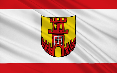 munster: Flag of Warendorf is a town in North Rhine-Westphalia, Germany. 3d illustration Stock Photo