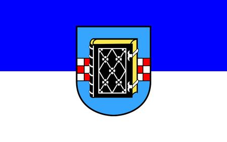 north rhine westphalia: Flag of Bochum is a city in the state of North Rhine-Westphalia, Germany. 3d illustration Stock Photo