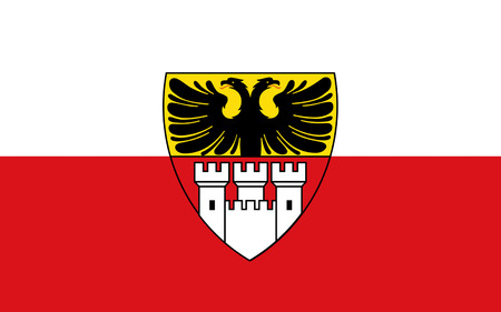 north rhine westphalia: Flag of Duisburg is a German city in the western part of the Ruhr Area (Ruhrgebiet) in North Rhine-Westphalia Stock Photo