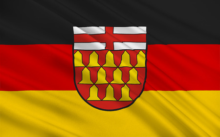 municipality: Flag of Wadern is a municipality in the German federal state Saarland Stock Photo