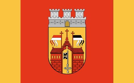 north rhine westphalia: Flag of Herford is a town in North Rhine-Westphalia, Germany. 3d illustration Stock Photo