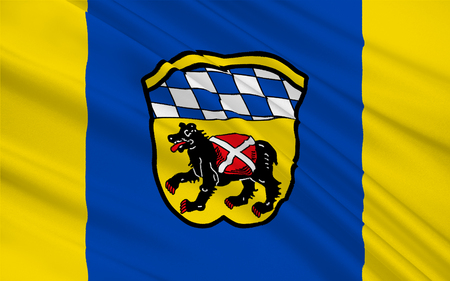 freising: Flag of Freising is a town in Bavaria, Germany. 3d illustration Stock Photo