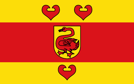 district': Flag of Steinfurt is a district in the northern part of North Rhine-Westphalia, Germany. 3d illustration