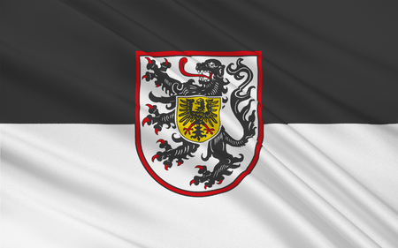 der: Flag of Landau in der Pfalz is an autonomous town of southern Rhineland-Palatinate, Germany Stock Photo