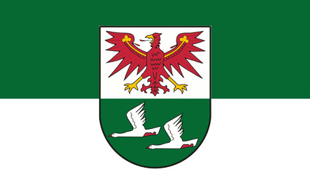 brandenburg: Flag of Oberhavel is a district in the northern part of Brandenburg, Germany. 3d illustration Stock Photo