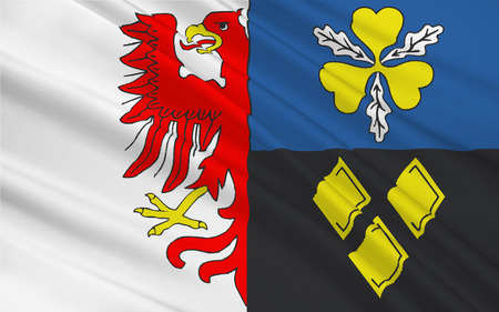 Flag of Stendal is a district in the north-east of Saxony-Anhalt, Germany. 3d illustration
